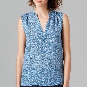 Vince Silk Sleeveless V Neck Blouse Printed Blue L
